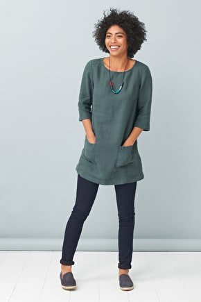 Linen Boat Neck Oceanfront Tunic Top - Seasalt