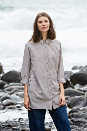 100% Cotton Striped Womens Long Shirt ,Boatbuilder Shirt - Seasalt