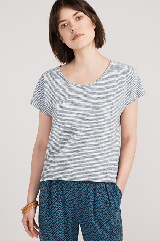 Fernleigh Top, Striped Cotton Jersey Top - Seasalt