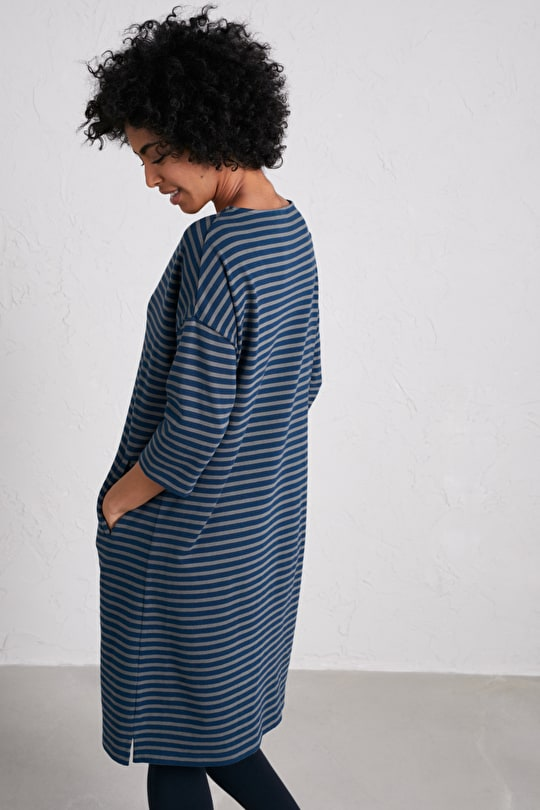 Sea And Sand Dress, Striped Slouchy Fit Cotton Dress - Seasalt Cornwall