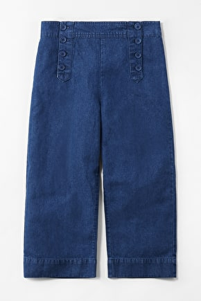 Mariner Denim Crops, Wide Leg Cropped Trousers - Seasalt
