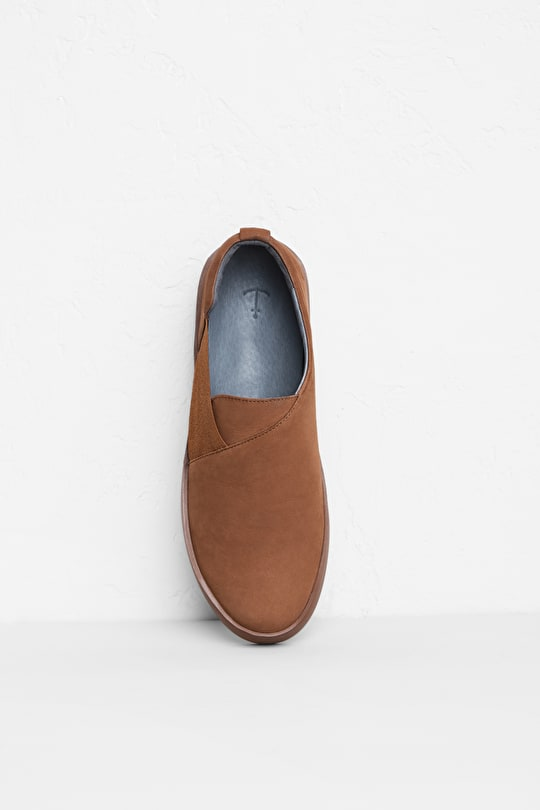 Cornish Lane Trainer, Nubuck Leather Slip On  - Seasalt Cornwall