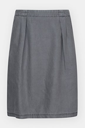 Engraving Skirt, Knee Length Cotton Linen A-Line Skirt - Seasalt