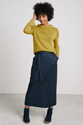 Inscription Skirt, Soft Fully Lined Needlecord Skirt - Seasalt