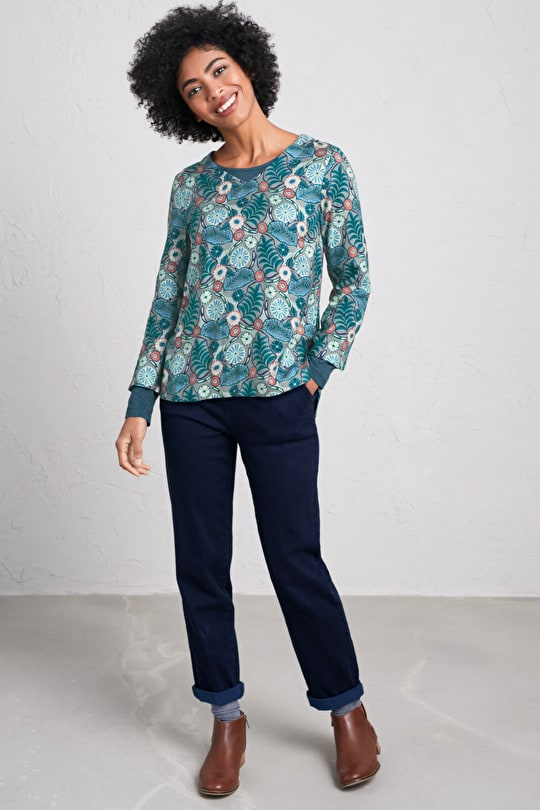 Upton Towans Top - Printed Cotton-Viscose Twill Top - Seasalt Cornwall