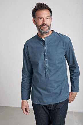 Men's Tall Ship Shirt, Needlecord Cuffless Shirt