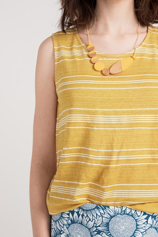 Summer Valley Vest, Striped Linen Cotton Sleeveless Top - Seasalt