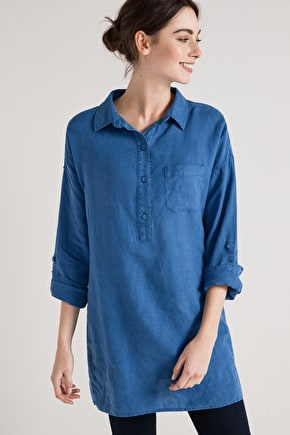 Nicky Berry Shirt, Linen long tunic top - Seasalt