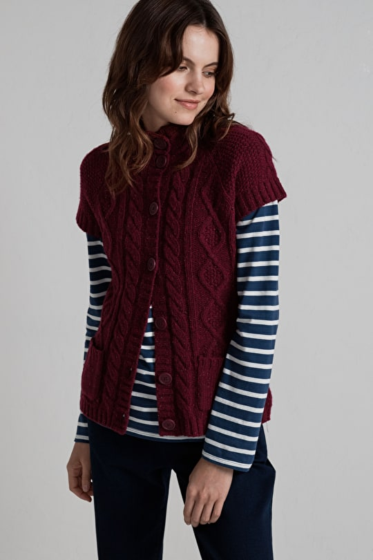 Short Sleeved Cable Knit Cardigan. In Cosy Lambswool - Seasalt