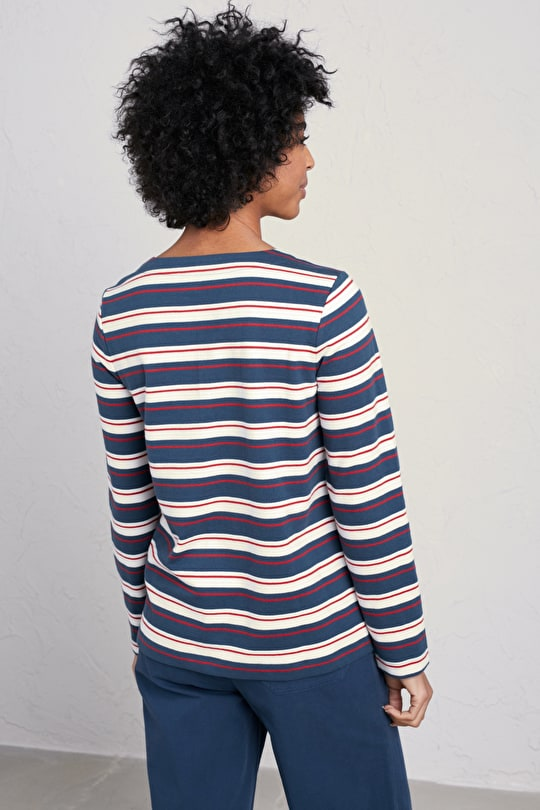 Vista Sweatshirt, Organic Cotton Striped Top - Seasalt Cornwall