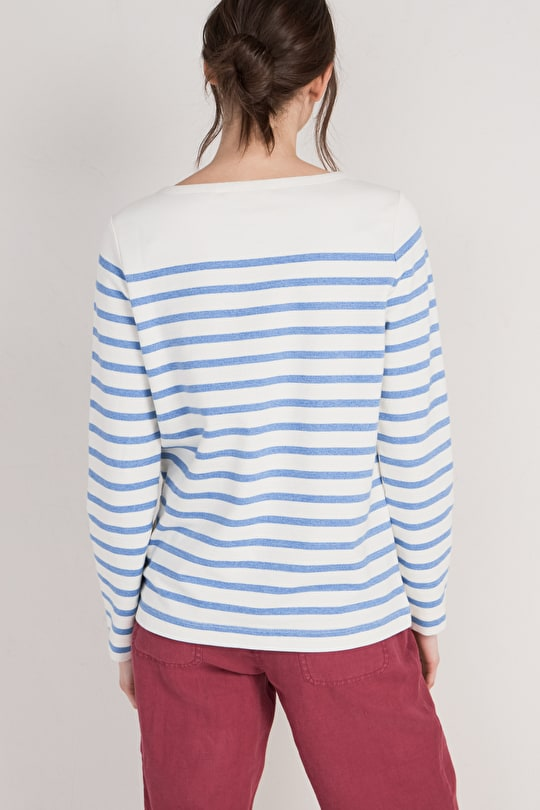 Lamorran Sweatshirt, Soft Organic Cotton Striped Sweater - Seasalt