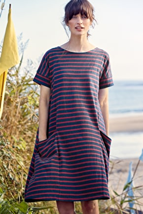 Striped Short-Sleeved Boat Neck Cotton Mill Pool Swing Dress - Seasalt