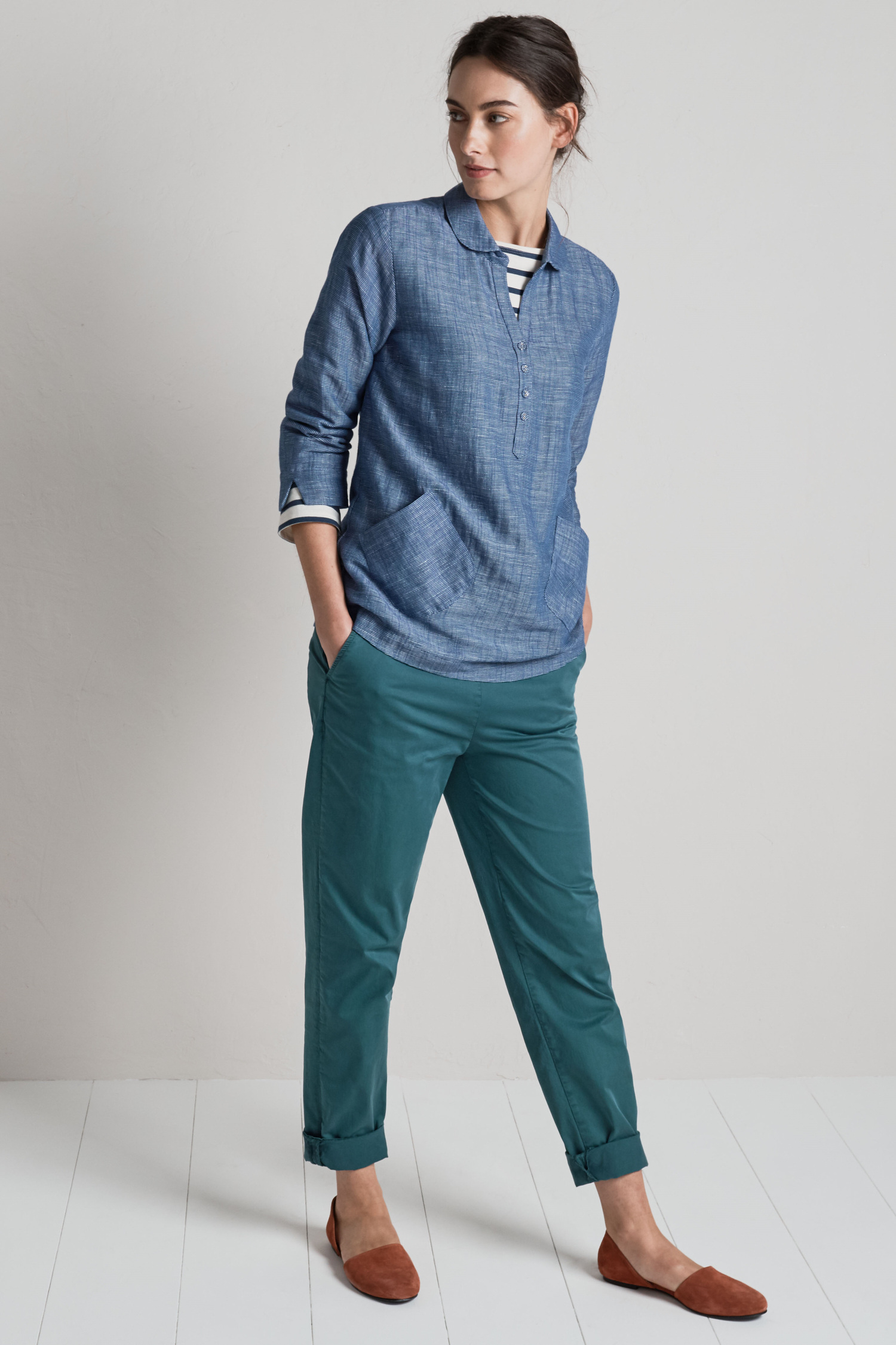 Cotton And Tencel Sancreed Trousers Seasalt