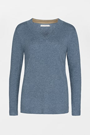 Clouded Sky Womens V-Neck Jumper, Merino Blend - Seasalt