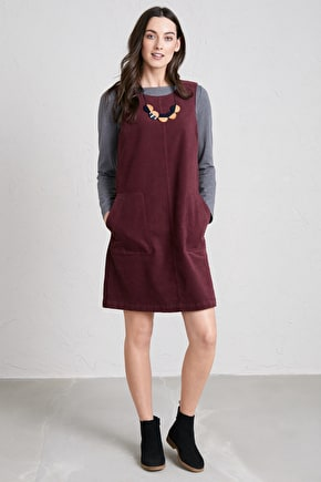 Decoupage Pinafore Dress, Knee Length Twill Moleskin Shift Dress