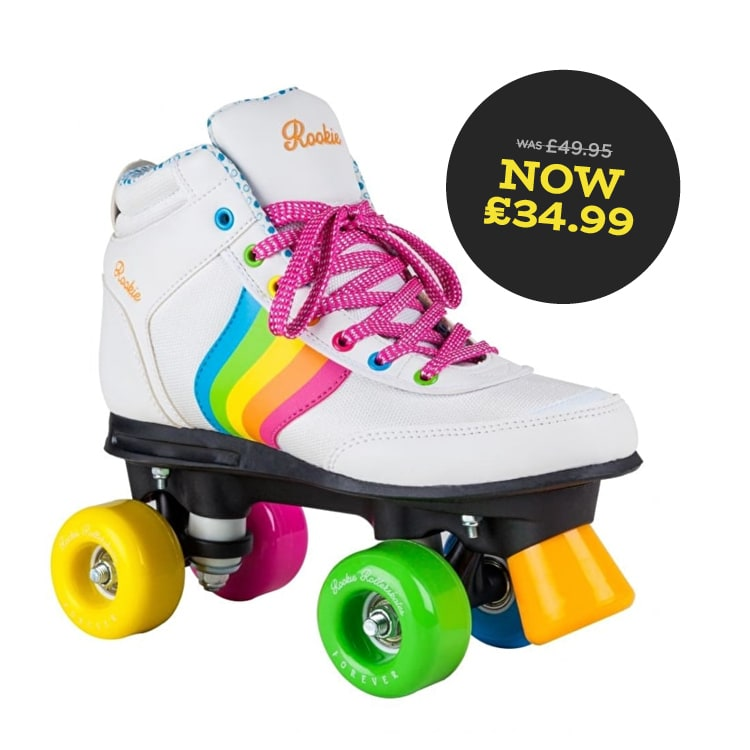 rookie forever white rainbow rollerskates sale