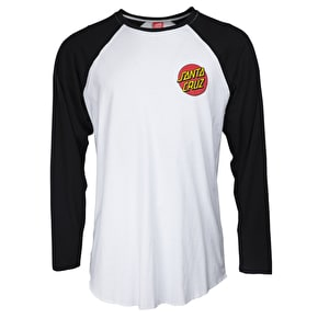 Santa Cruz Small Dot Baseball T-Shirt - Black/White
