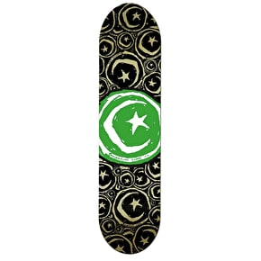 Foundation Star & Moon Stickered Team Skateboard Deck - Green