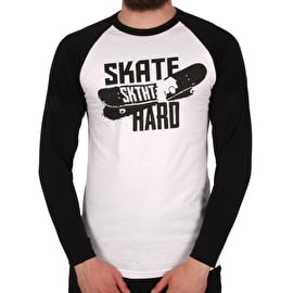 SkateHut Skate Hard Raglan Long Sleeve T Shirt - White/Black