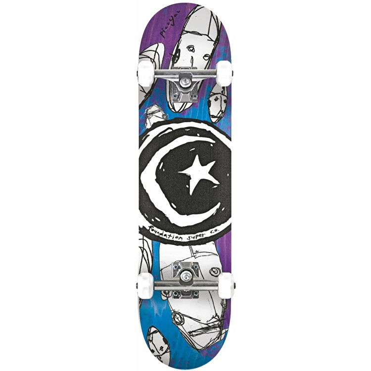 Foundation Star & Moon Robots Complete Skateboard 7.375""