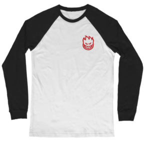 Spitfire Longsleeve T-Shirt - Bighead Embroidered Black/White
