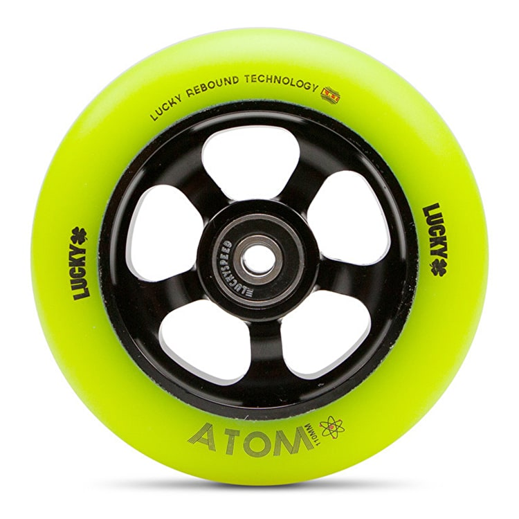 Lucky Atom 110mm Scooter Wheel - Black/Hi-Liter Yellow