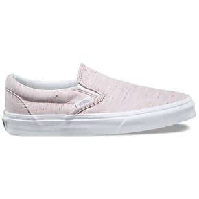 Vans Classic Slip-On Shoes - (Speckle Jersey) Pink/True White