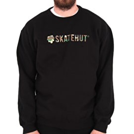 SkateHut Script Logo SweaT shirt - Black/Camo