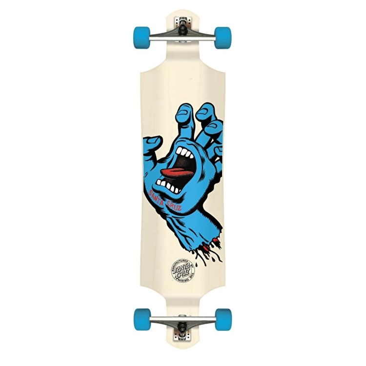 Santa Cruz Screaming Hand Drop Down Complete Longboard - White 40""