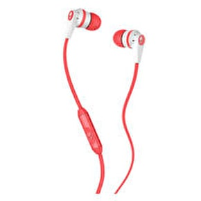 Skull Candy Riot Mic'd Earphones - White / Coral / White