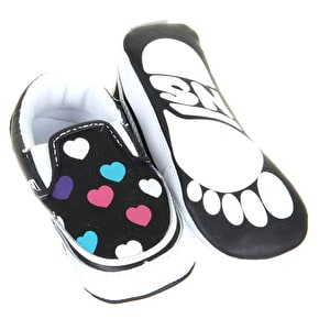 Vans Classic Slip On Crib Shoes - Black Multi Colour Hearts