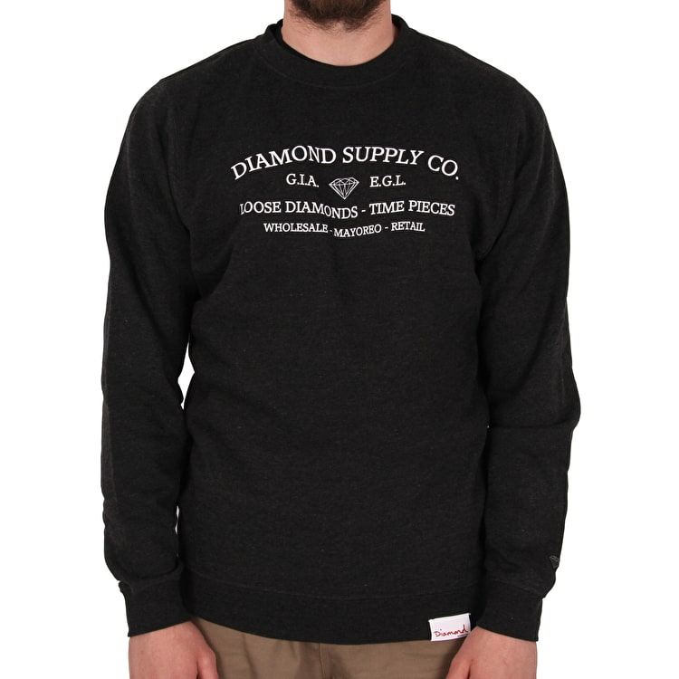 Diamond Time Piece Crew Neck - Charcoal Heather