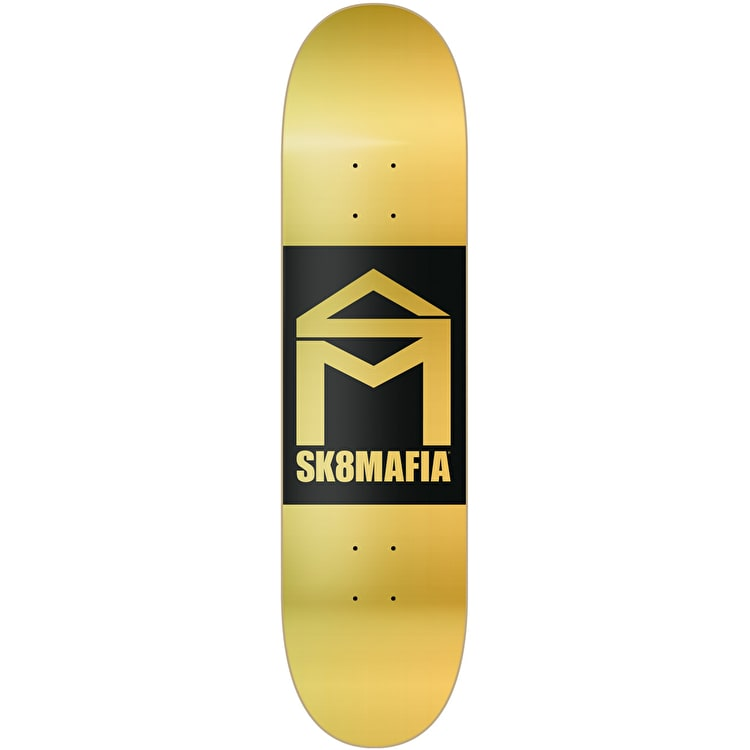 Sk8 Mafia House Logo Double Dip Skateboard Deck - Gold 8""