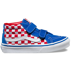 Vans Sk8-Mid Reissue V Kids Skate Shoes - (Checkerboard) Racing Red/Imperial Blue