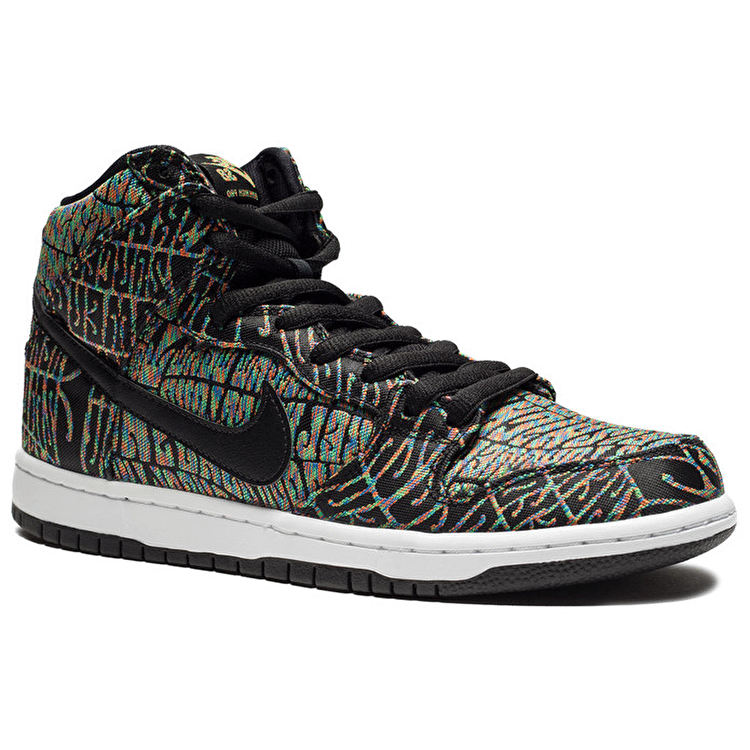 Nike SB Dunk High Premium Shoes - Black/Black/Rainbow/White
