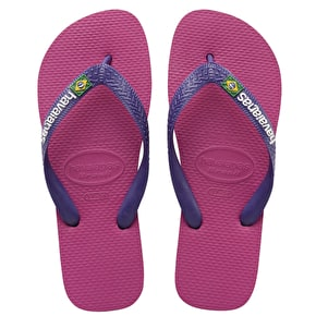 Havaianas Brazil Logo Womens Flip-Flops - Raspberry Rose/New Purple