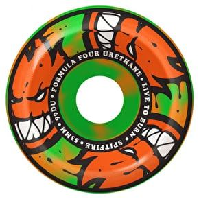 Spitfire Formula Four Afterburners Conicals 99D Skateboard Wheels - Orange/Green Swirl 53mm