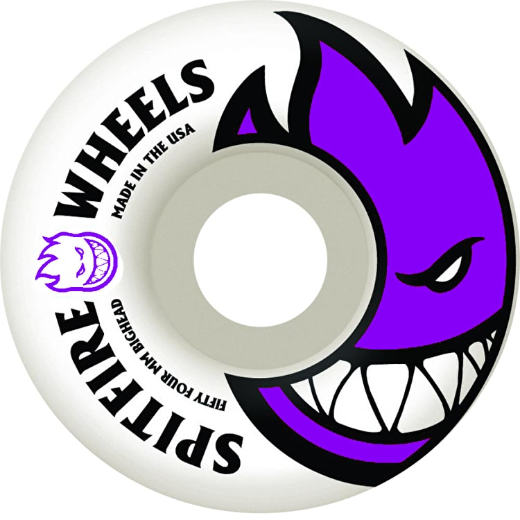 Spitfire White Skateboard Wheels Bighead - Purple 54mm (Pack of 4)