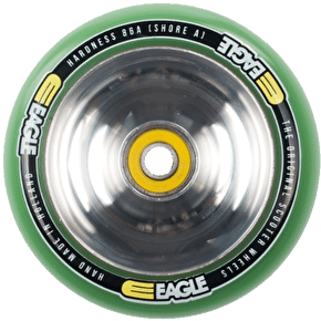 Eagle Polished Full Metal Core Green PU Wheel - 110mm
