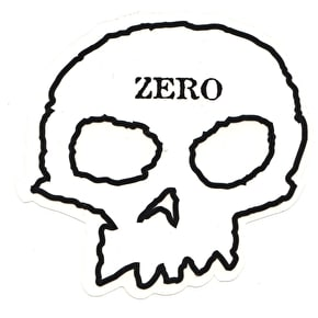 Zero Skull Skateboard Sticker - Clear/Black/White 5