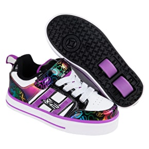 B-Stock Heelys X2 Bolt Plus - White/Black/Rainbow Hearts UK 3 (lights on right shoe do not function, mark on sole)