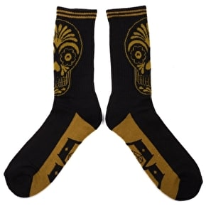 Rebel8 Muertos Socks - Black/Gold