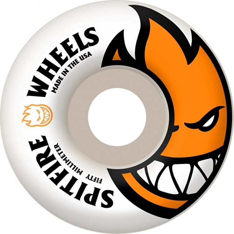 Spitfire White Skateboard Wheels Bighead - Orange 50mm