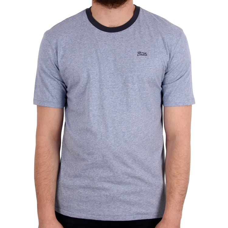 Brixton Potrero III Short Sleeved Premium T shirt - Heather Blue/Washed Navy
