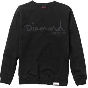 Diamond Tonal OG Script Crewneck - Black