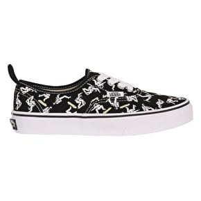 Vans Authentic Elastic Lace Kids Skate Shoes - (Astronauts) Black/Glow