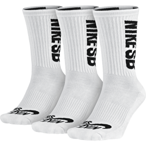 Nike SB 3pk Crew Socks - White/Black