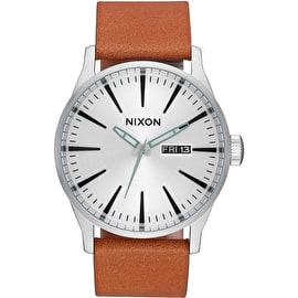 Nixon Sentry Leather Watch - Silver/Tan