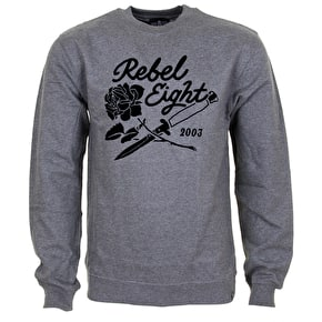 Rebel8 Roses And Daggers Crewneck - Gunmetal