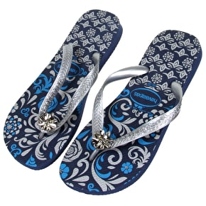 B-Stock Havaianas Caprice Flip Flops- Navy/Silver UK 8 (Box Damage)